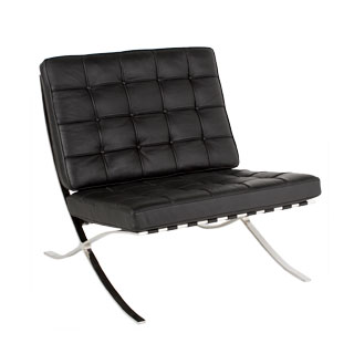 Black Leather Barcelona Lounge Chair CHR012637