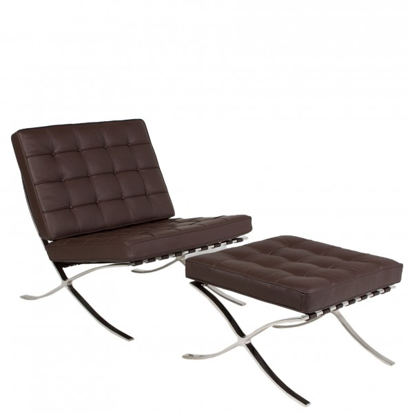Dark Brown Leather Barcelona Lounge Chair CHR012957
