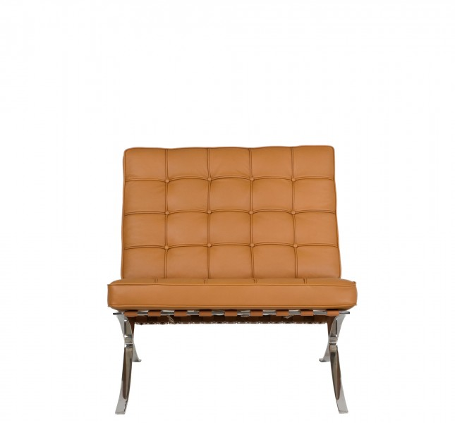 Camel Tan Leather Barcelona Lounge Chair CHR012959