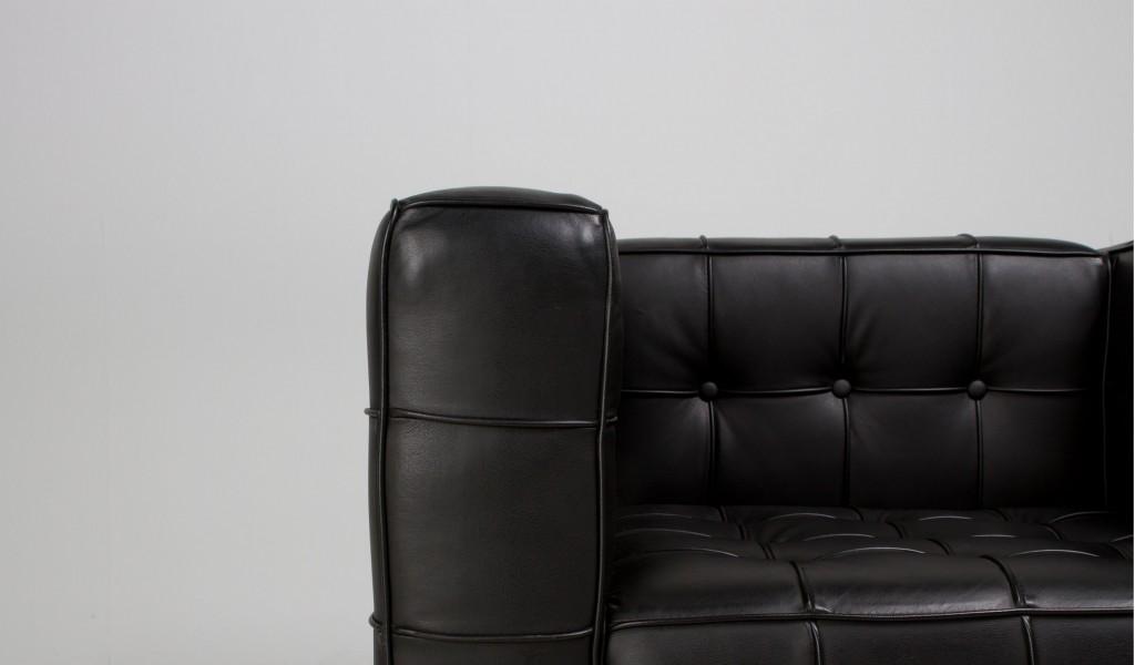 "76""w x 30""d Black Leather Sofa SOF009216"