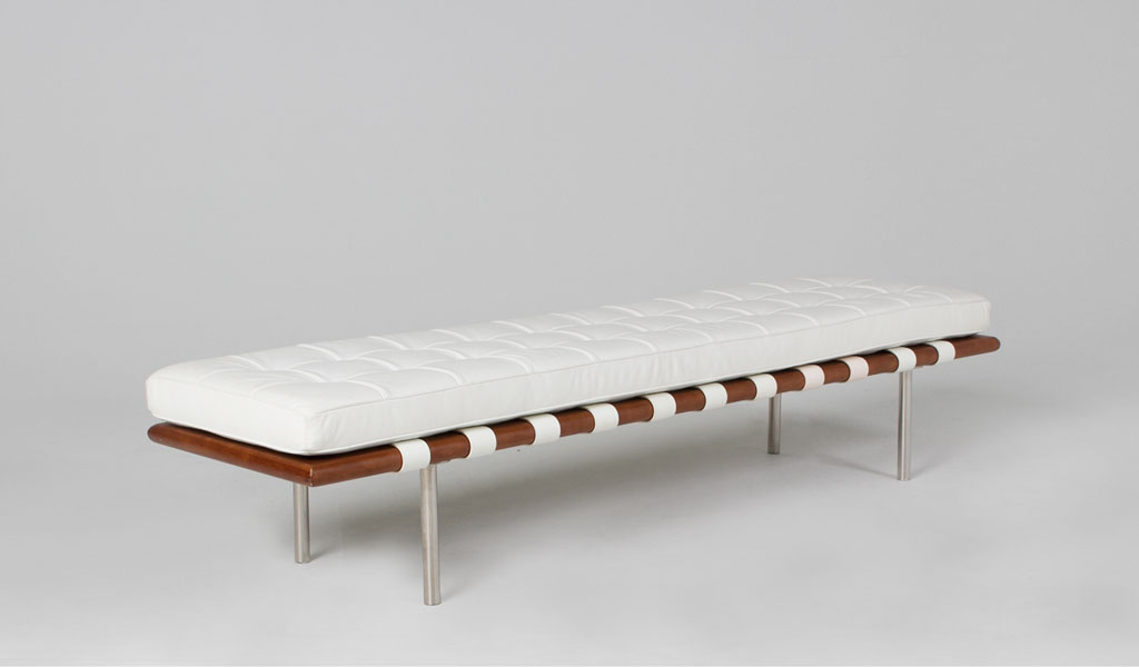 "78""w x 20""d White Leather Barcelona Bench BEN010231"