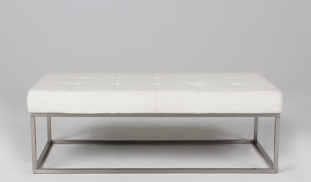 """48""""w x 24""""d Quilted White Leather Bench BEN012037"""