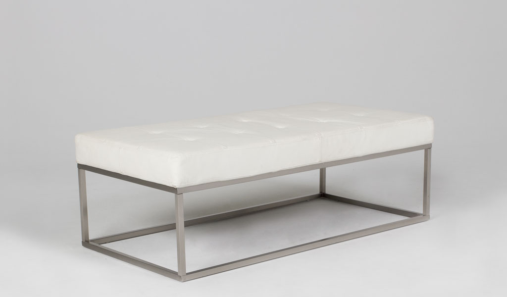 "48""w x 24""d Quilted White Leather Bench BEN012037"