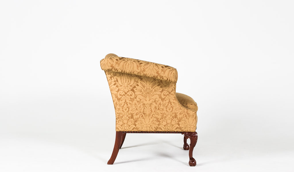 Gold Damask Wing Back Club Chair CHR004651
