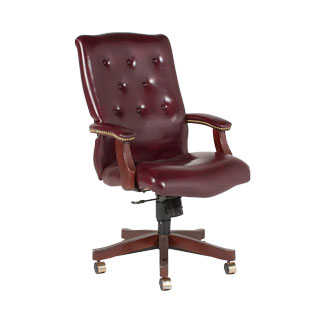 Oxblood Vinyl Traditional Executive Swivel Chair CHR008686