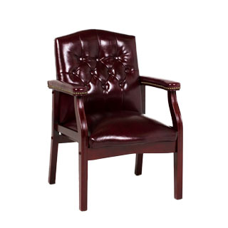 Tufted Oxblood Vinyl Guest Chair CHR012984