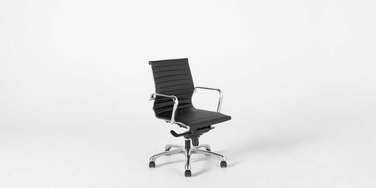 Black Leather Eames Mid-Back Office Chair CHR012180