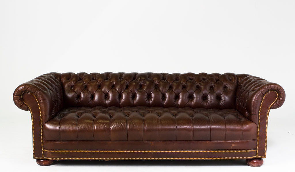 """88""""w x 38""""d Chestnut Brown Leather Chesterfield Sofa SOF006343"""