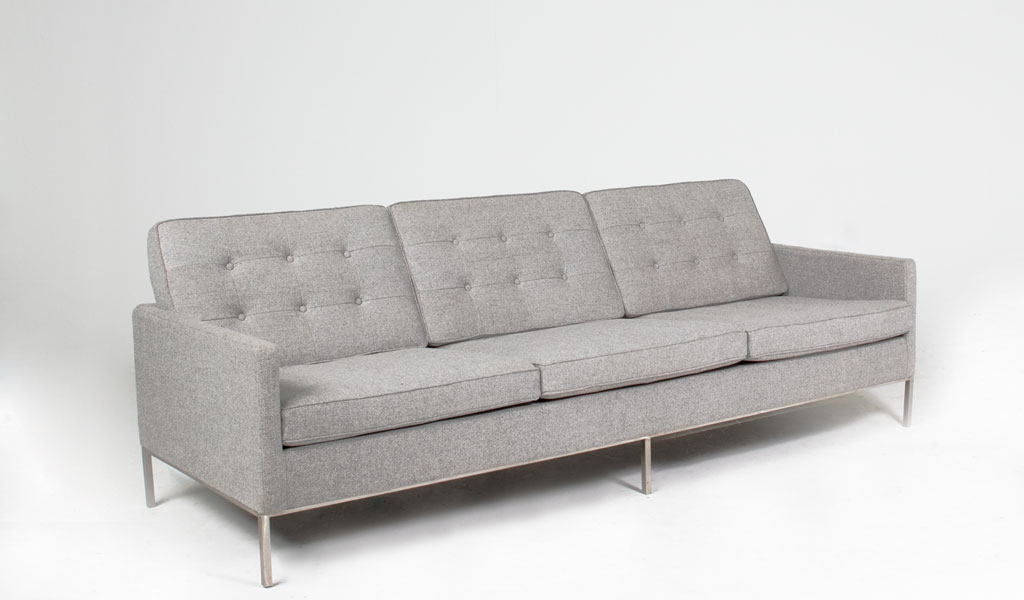 "91""w x 32.5""d Light Grey Tweed Sofa SOF012489"