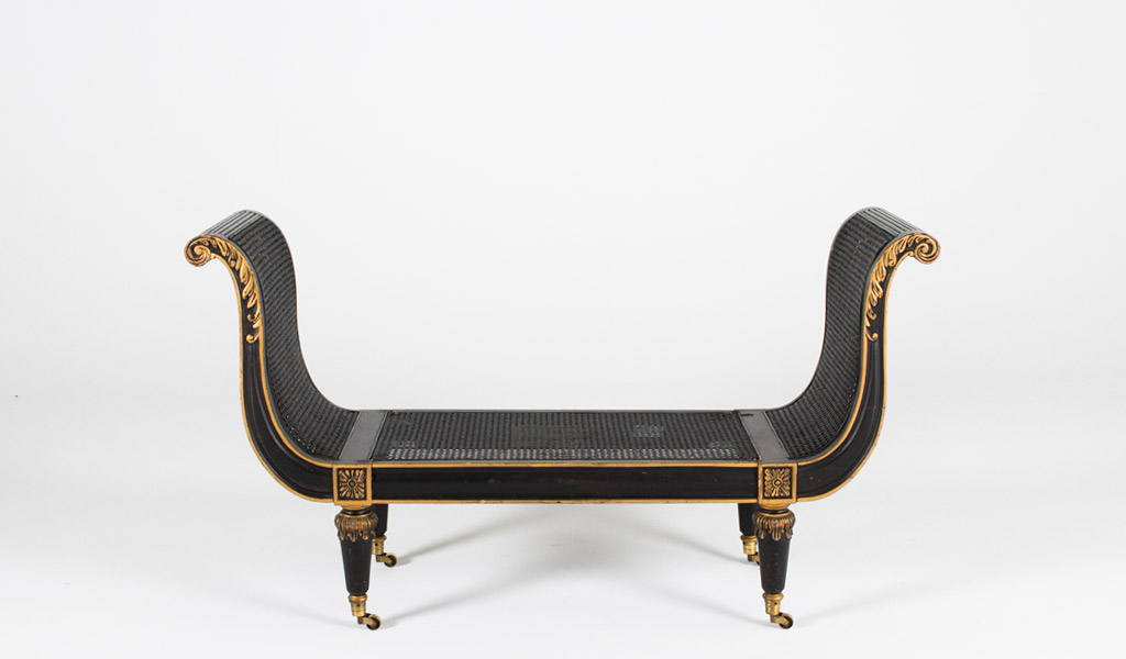 "58""w x 18""d French Black + Gold Bench BEN000193"