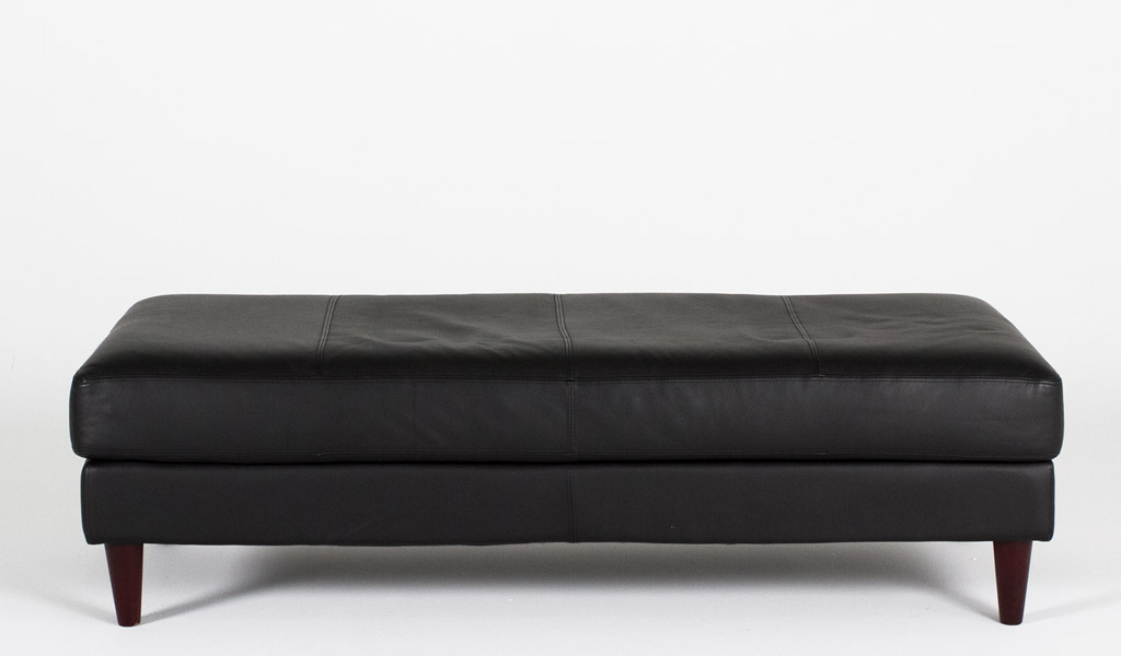 "60""w x 25""d Black Leather Bench BEN010219"