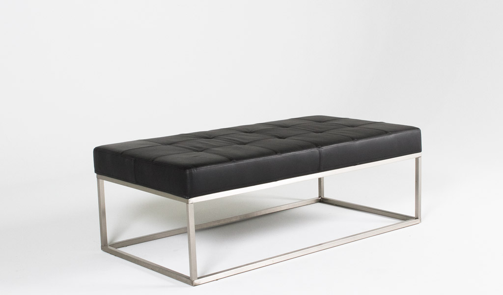"""48""""w x 24""""d Quilted Black Leather Bench BEN012038"""