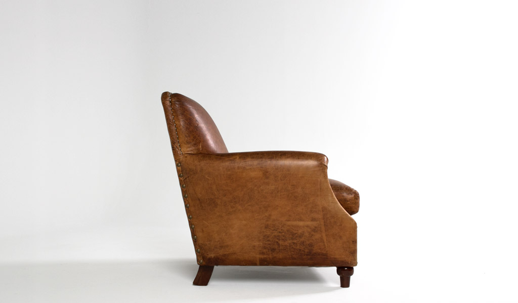 Camel Brown Leather Club Chair CHR000406