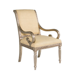 Ornate Silver Guest Chair CHR000825