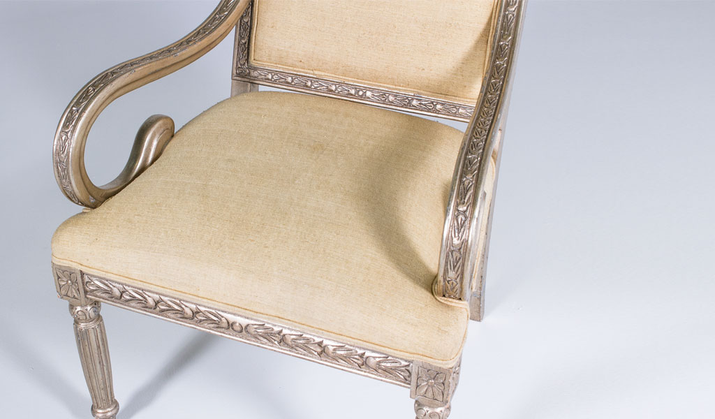 Ornate Silver Guest Chair CHR000825