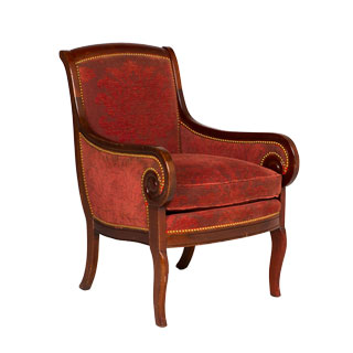 Burgundy Damask Armed Club Chair CHR000859
