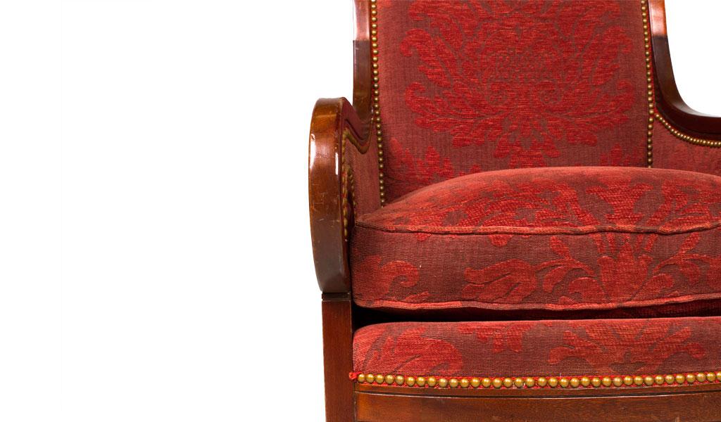 Burgundy Damask Armed Club Chair CHR000859