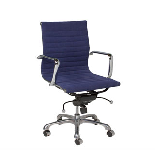 Denim Blue Leather Eames Mid-Back Office Chair CHR009210