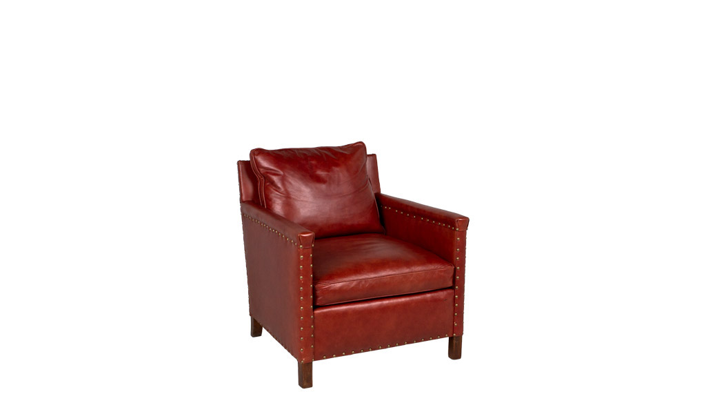 Rustic Red Leather Club Chair CHR009602