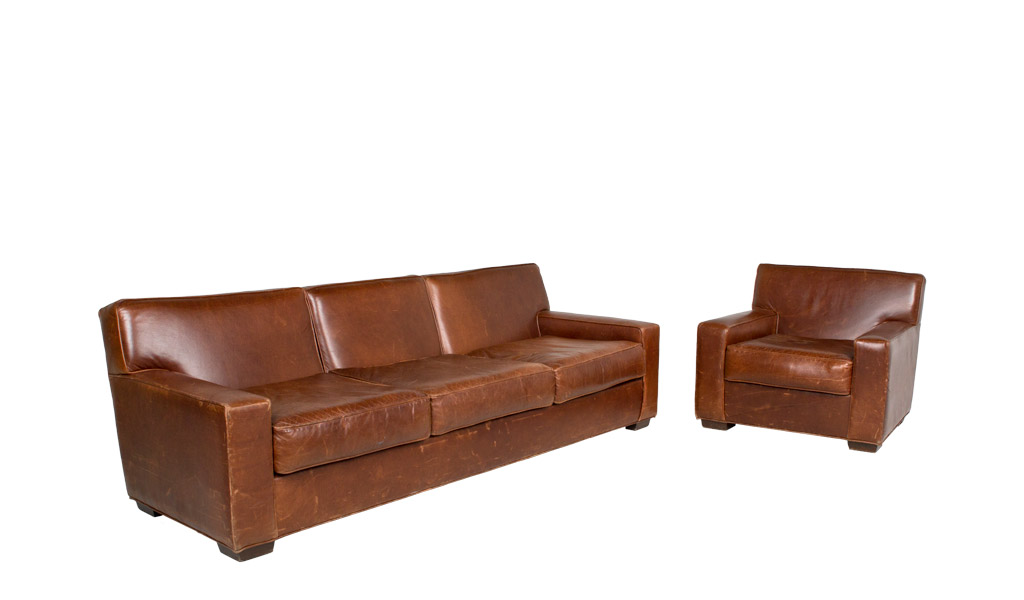 Rustic Brown Leather Club Chair CHR000369