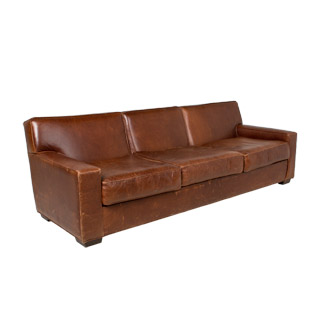 "96""w x 37""d Rustic Brown Leather Sofa SOF002225"