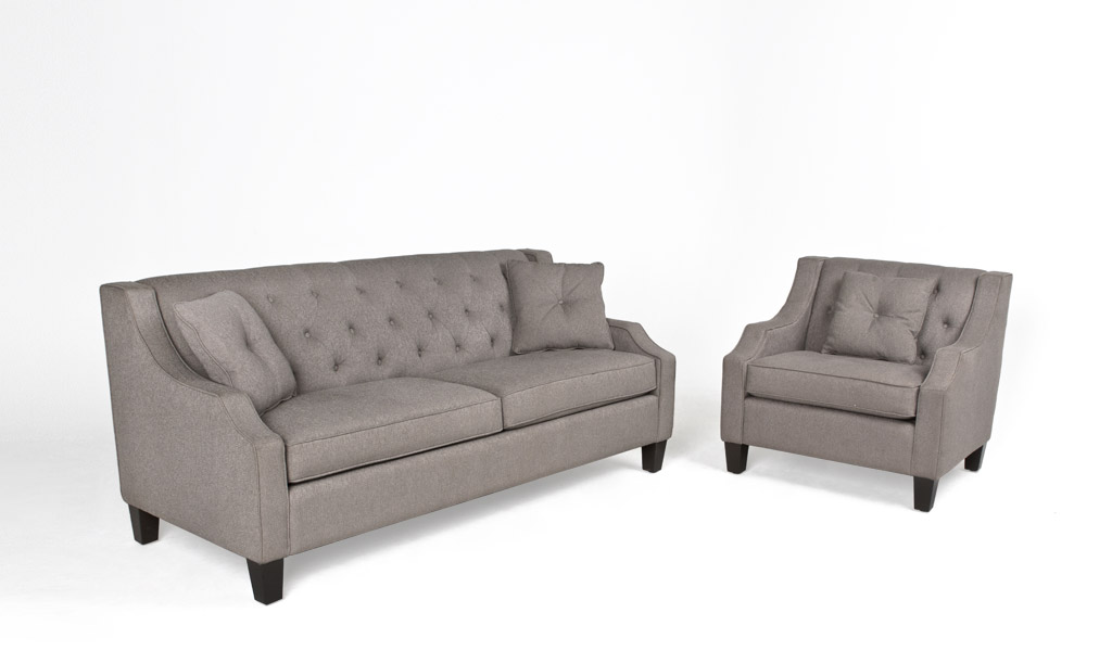 "75.5""w x 32""d Smoke Grey Fabric Sofa SOF012047"
