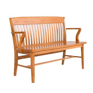 """53""""w x 18""""d Medium Oak Courtroom Bench BEN000216"""