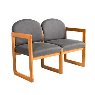 "44.5""w x 22""d Grey Fabric Tandem Seating BEN007080"
