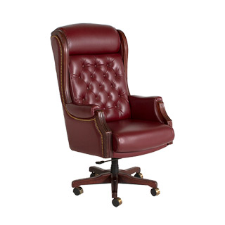 Tufted Oxblood Leather Executive High-Back Office Chair CHR000674