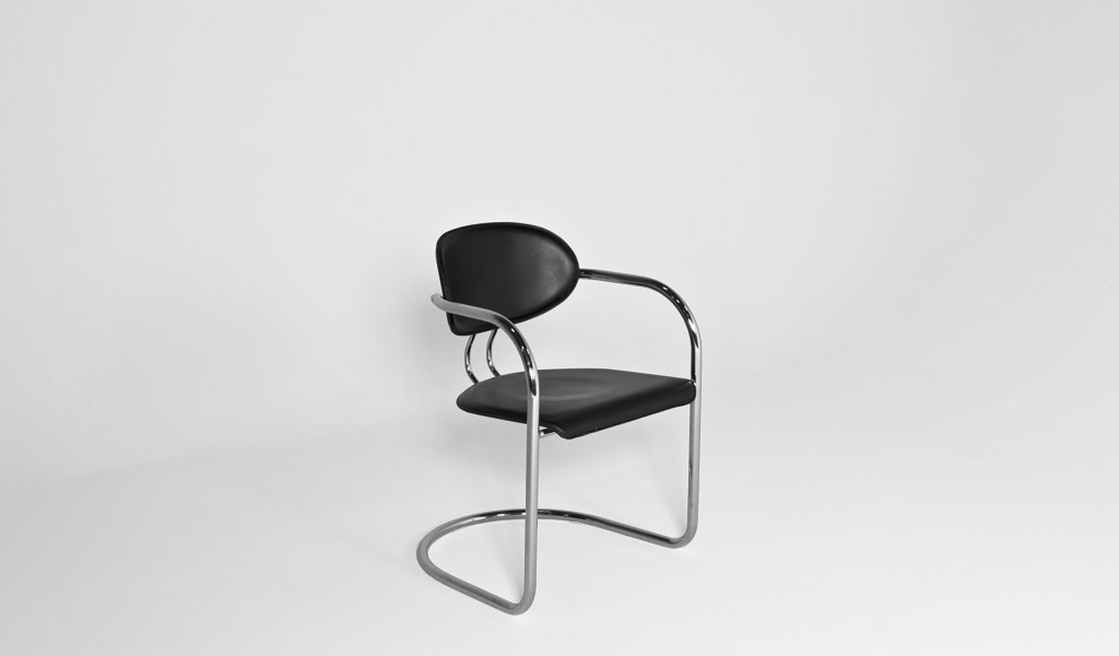 Black Leather Guest Chair CHR000942