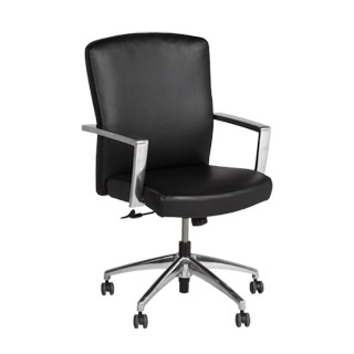 Black Leather Mid-Back Office Chair CHR009589