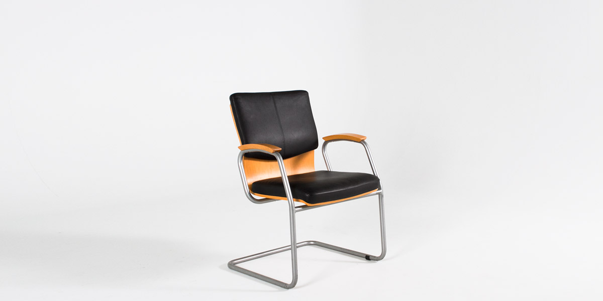 Black Leather Guest Chair CHR013053
