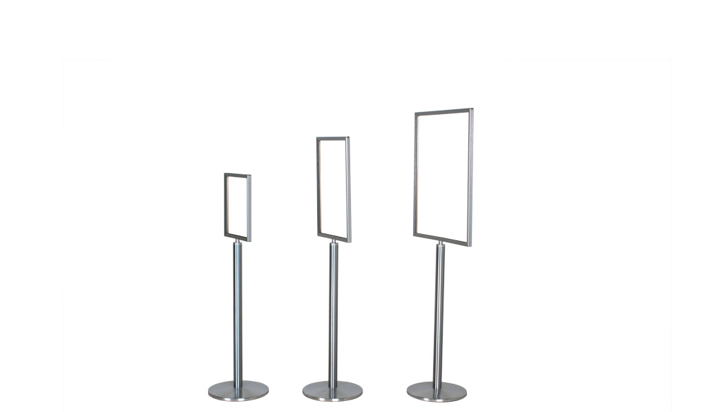 "63""h Brushed Aluminum Sign Stanchion MIS012913"