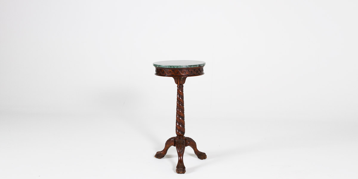 "18""dia Mahogany Ornate Side Pedestal Table TBL004155"