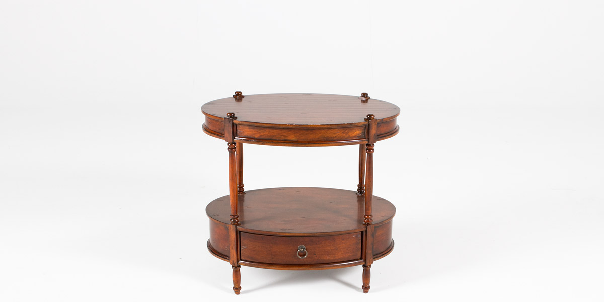 "26""w x 17""d Dark Cherry Oval Side Table TBL012613"