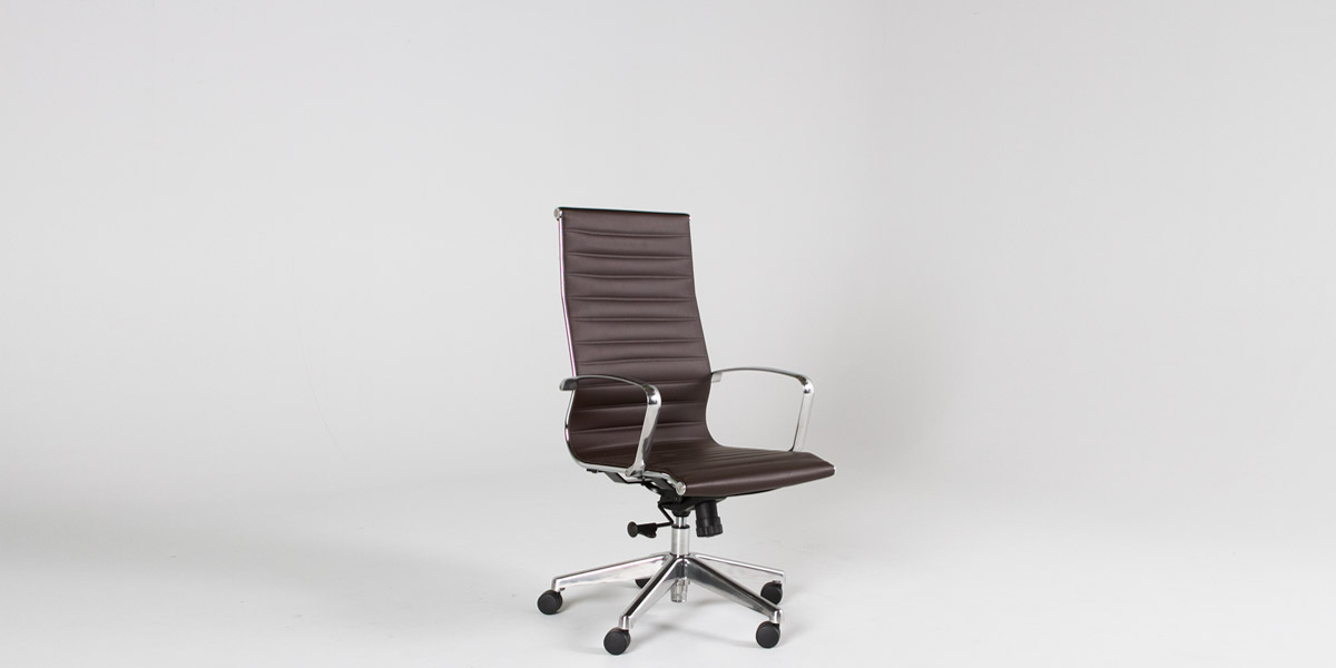 Brown Leather Eames Hi-Back Office Chair CHR012884