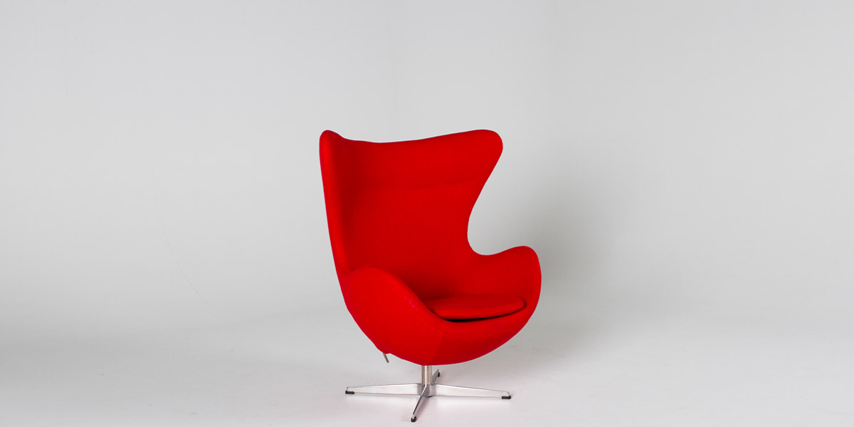 Red Fabric Egg Lounge Chair CHR013079