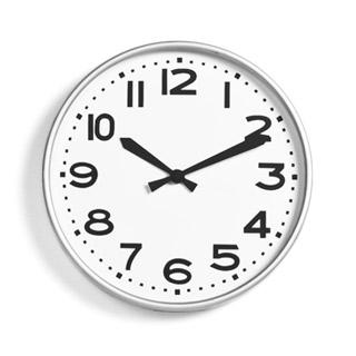 """10""""dia Silver Plastic Clock ACC001297"""