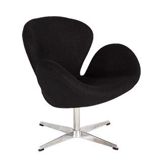 Black Fabric Swan Chair CHR012647