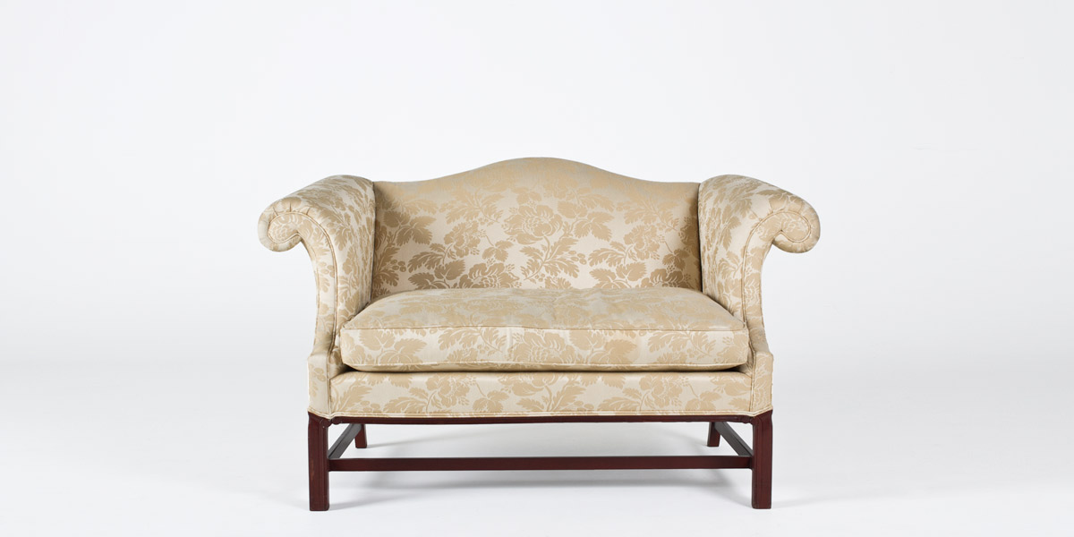 "57""w x 34""d Cream Damask Chippendale Loveseat LVS007728"