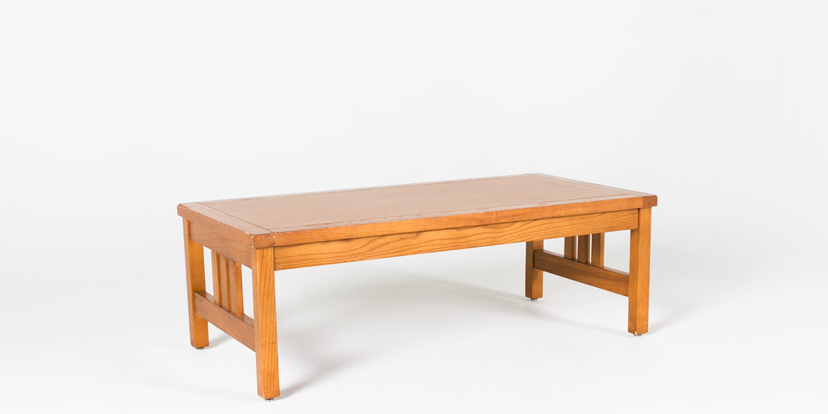 48 W X 24 D Medium Oak Mission Coffee Table Tbl000343 Arenson Office Furnishings
