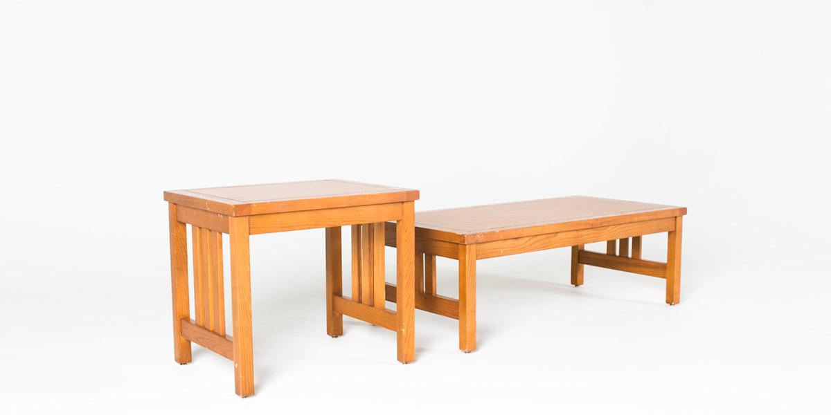 """26""""w x 20""""d Medium Oak Mission Side Table TBL001065"""