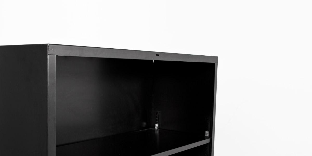 """34.5""""w x 41""""h Black Metal Bookcase BKC003336"""