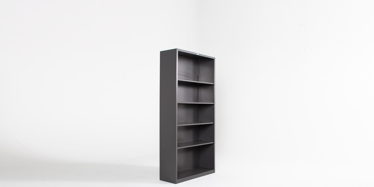 "29""h - 71""h Charcoal Grey Metal Bookcase BKC006449"