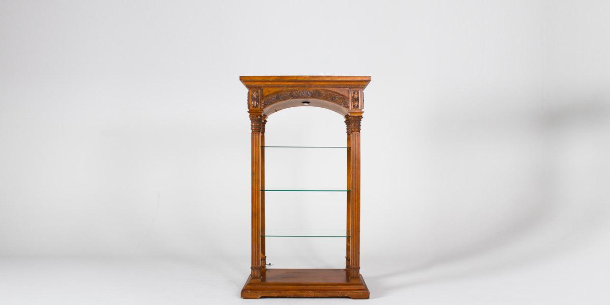 "48""w x 82.5""h Medium Oak Ornate Etagere CAB000291"