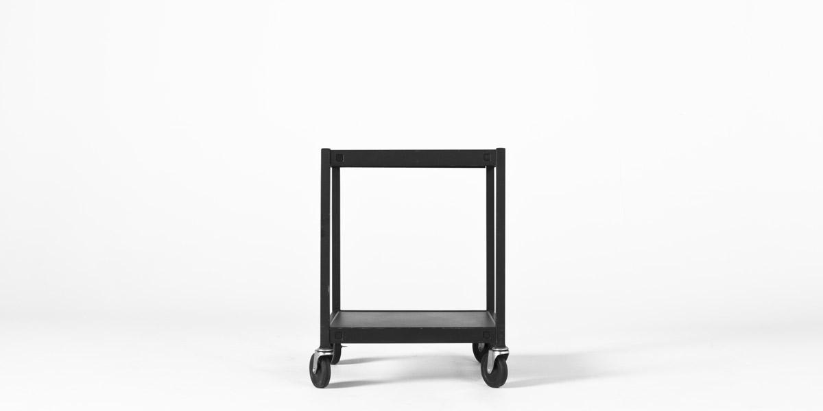 """24""""w x 18""""d Black Metal Media Cart MIS004585"""