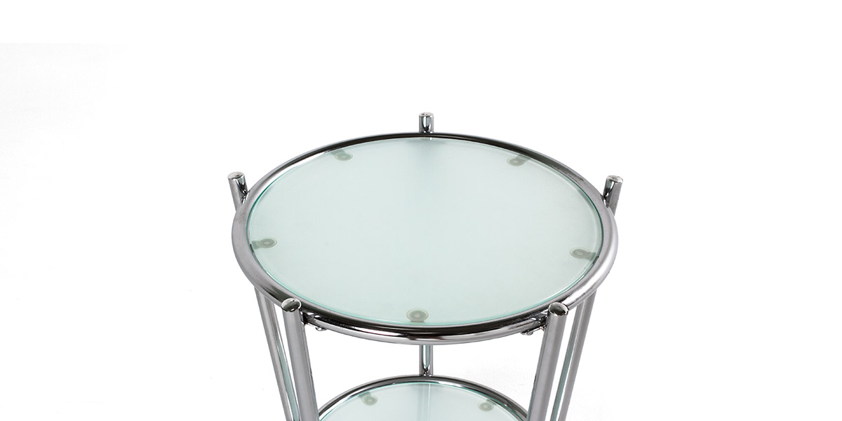 "16""dia Glass Round Side Table TBL007611"