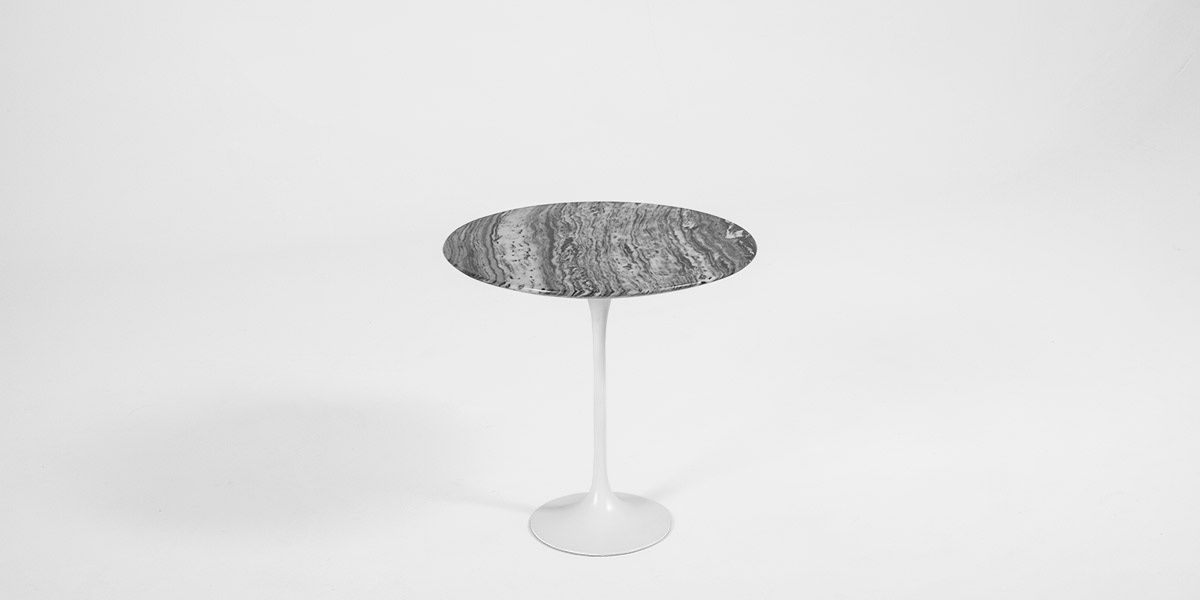 "21""dia Grey Marble Saarinen Round Table TBR011884"