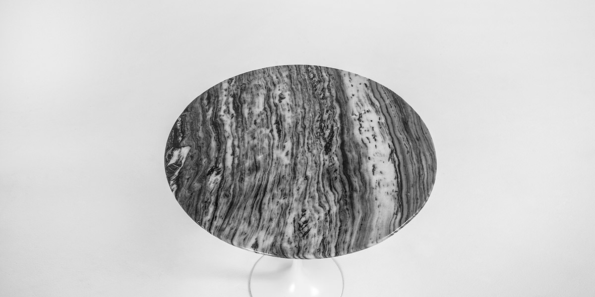 "21""dia Grey Marble Saarinen Round Table TBR011884"