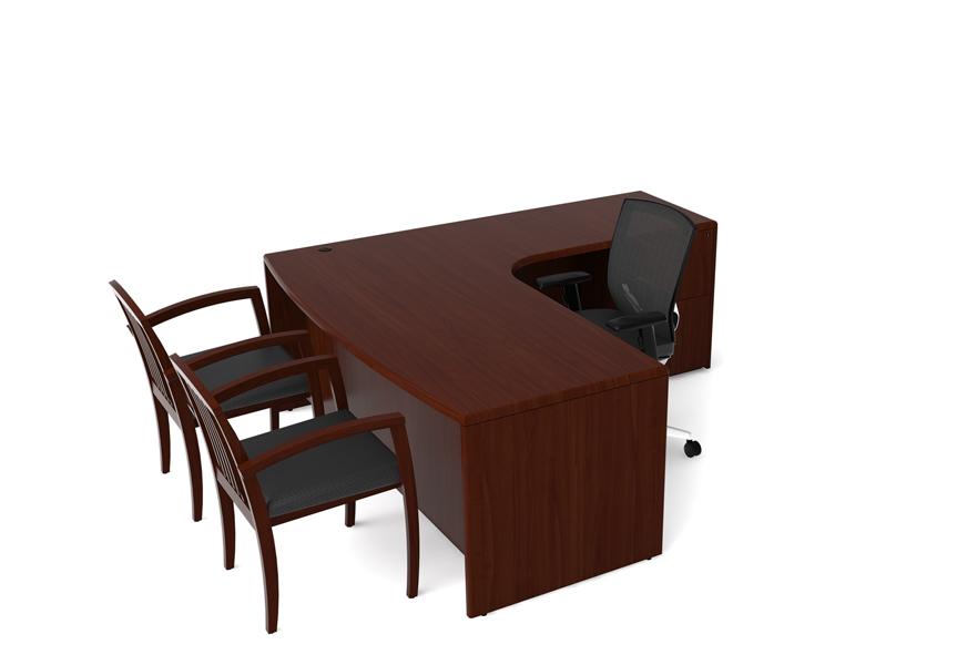 "72""w x 36""d Mahogany Single Left Pedestal Desk DSK012904"